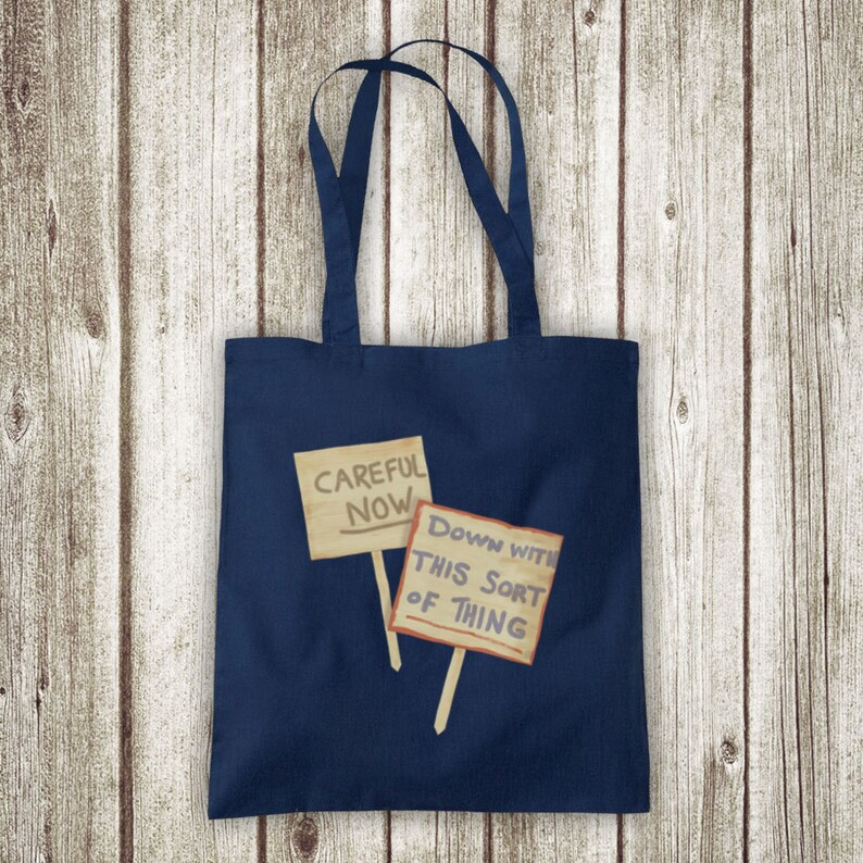 Father Ted Down With This Sort Of Thing Careful Now Signs Irish Comedy TV Unofficial Cotton Tote Bag Shopper