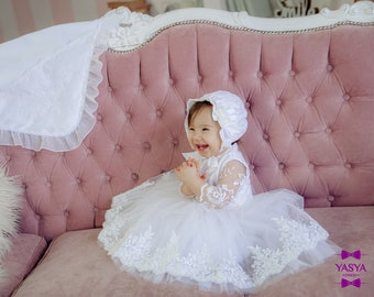 e089168b33 White baptism dress, christening gown girl, baby girl baptism dress