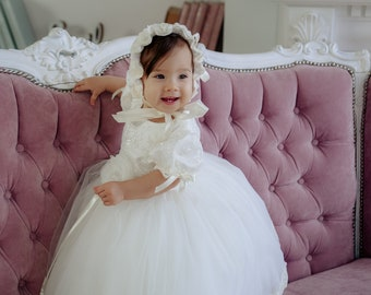 a97c0a4afda3 ivory baptism dress, baby blessing dress, christening gown girl, tutu dress