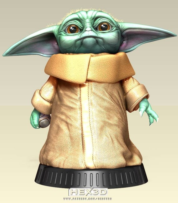 The Mandalorian Child Baby Yoda 3D Printed Figure Fan Art