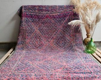 CANDY Beni Ourain Moroccan Rug, Pink Moroccan Rug, Vintage Rug, Handmade Rug, Wool Rug, Vintage Moroccan Rug, Vintage Beni Ourain, Blue Rug