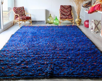 COBALT Beni Ourain Moroccan Rug, Blue Moroccan Rug, Vintage Rug, Handmade Rug, Wool Rug, Handmade Moroccan Rug, Vintage Beni Ourain