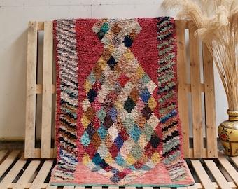 STRAWBERRY Pink Boucherouite Moroccan Rug, Pink Rug, Vintage Rug, Handmade Rug, Recycled Cotton Rug, Boucherouite Rug, Christmas Home Decor