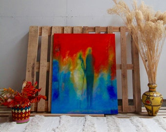 Acrylic painting, Abstract Painting, POR LA VIDA by Seyni Gadiaga, Canvas Painting, Blue and Red Painting, Original Artwork, African Artist