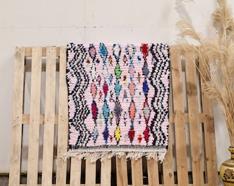 Pink Recycled Coton Boucherouite Moroccan Rug, Colorful Moroccan Rug, Handmade Rug, Cotton Rug, Boucherouite Rug, Recycled Cotton Rug
