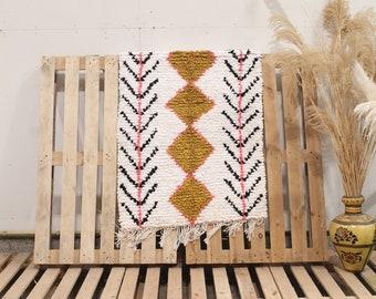 White Recycled Coton Boucherouite Moroccan Rug, Colorful Moroccan Rug, Handmade Rug, Cotton Rug, Boucherouite Rug, Recycled Cotton Rug