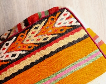 MERIDA Wool Kilim Pouf, Red Berber Pouf, Moroccan Pouf, Handmade Pouf, Footstool, Ottoman, Floor Cushion, Orange Pouf, Moroccan Home Decor