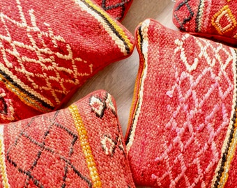 LYLE Moroccan Kilim Red and Pink Cushion, Colorful Wool Cushion, Handmade Moroccan Cushion, Pink Cushion Cover, Recycled Berber Cushion