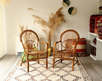 Set of 2 vintage rattan chairs, rattan chairs