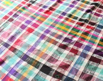 LILA Haïk Berber Blanket, Moroccan Throw, Cotton Bedspread, Moroccan Blanket, Colourful Cotton tablecloth, Striped Throw, Check Throw