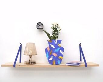 Complete shelf - leather straps and decorative shelf plank - Multiple colors - Bedroom, kitchen, living room, bathroom