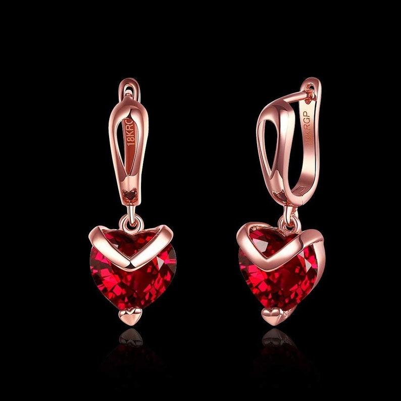 Red Heart Earrings Rose Gold Earrings Drop Earrings Gift For Her Austrian Crystal Earrings Clip on Earrings Handmade Earrings