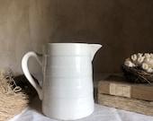 Antique French white pitcher jug Ironstone CREIL et MONTEREAU. FRANCE