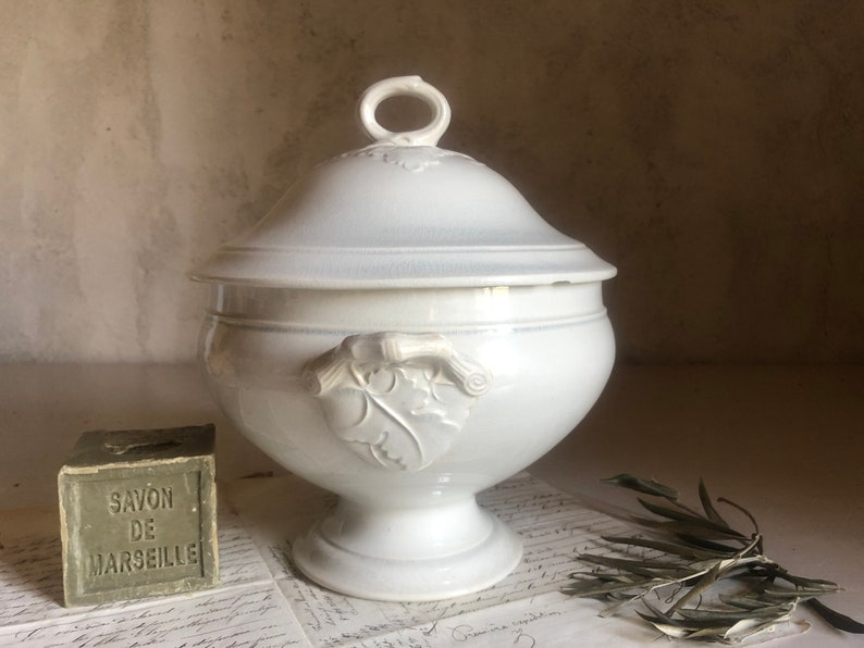 Antique French white soup Tureen  Ironstone stamped CHOISY LE ROI 19th France