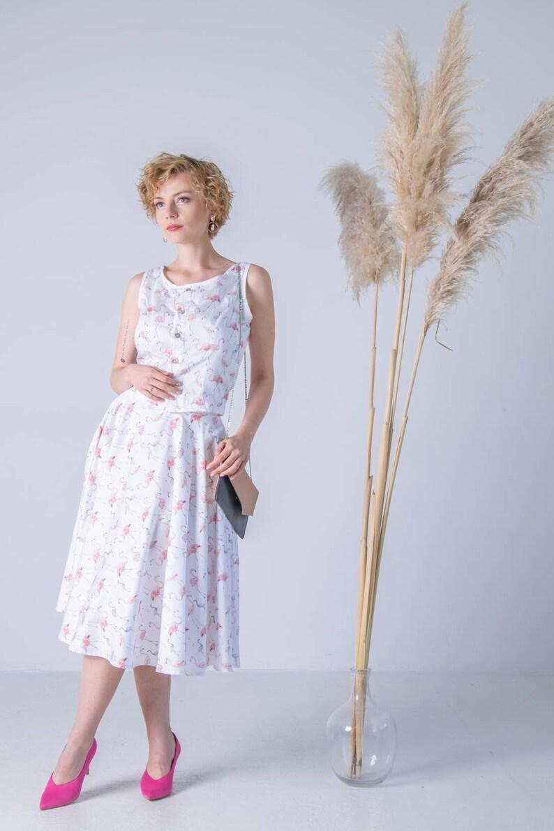 Flamingo skirt romantic full skirt full skirt bird printed flamingo printed skirt Circle white skirt pin up skirt circle printed skirt