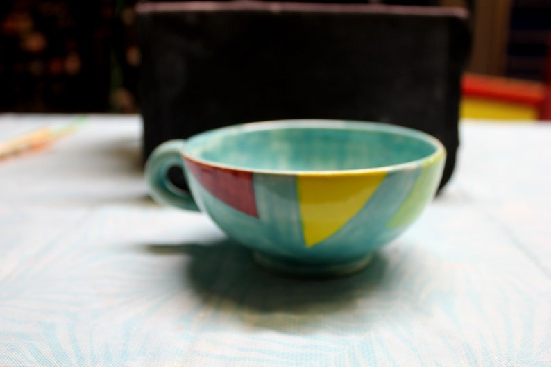 Multi colored coffee cups, ceramic with food safe paints