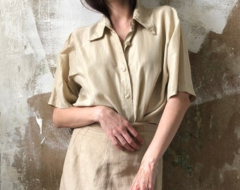 483321d2 Minimalist beige vintage silk blouse | Classic button up shirt Romantic  nude silk blouse | Modern minimalistic loose fit silk shirt | S - M