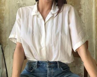 12076e121e1f white textured shirt minimalist vintage | white vintage blouse boxy shirt  bat wing white shirt 90s vintage issey miyake style blouse| S - M