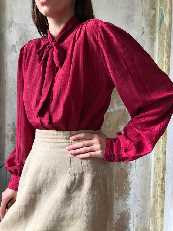 80s magenta pussy bow blouse | Red pink statement… - image 6