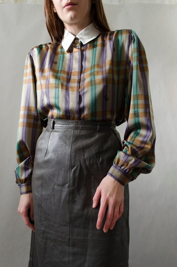 vintage plaid statement blouse | White collar blou