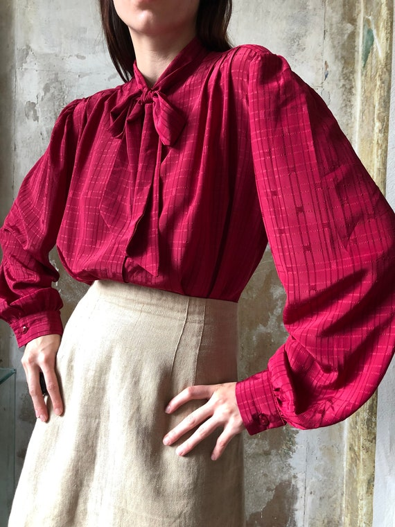 80s magenta pussy bow blouse | Red pink statement… - image 1