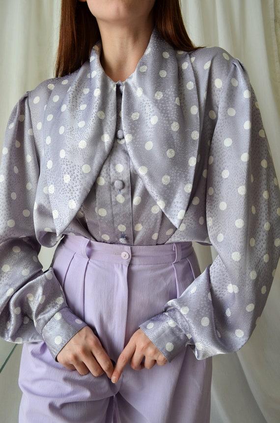 80s polka dot blouse | vintage purple blouse,big … - image 4