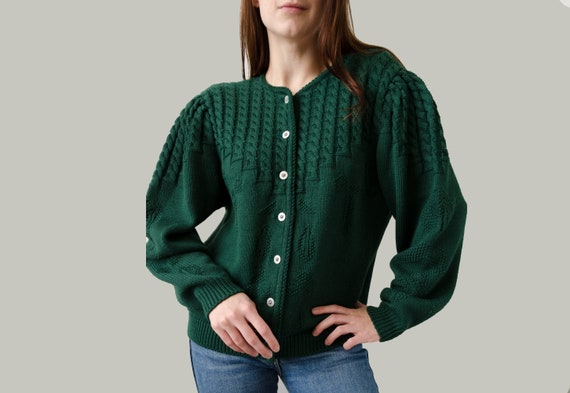 vintage trachten cardigan | Green folk cardigan, P