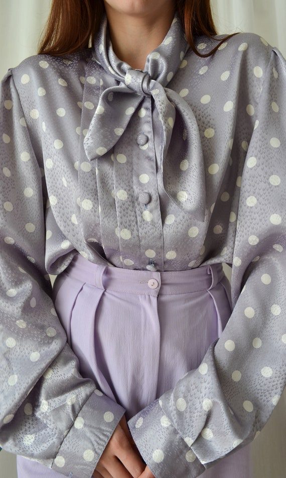 80s polka dot blouse | vintage purple blouse,big … - image 3
