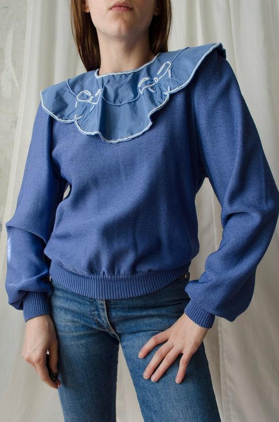 80s statement collar sweater | Blue rare vintage j