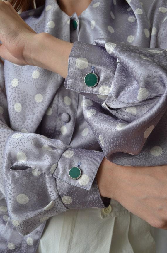 80s polka dot blouse | vintage purple blouse,big … - image 8