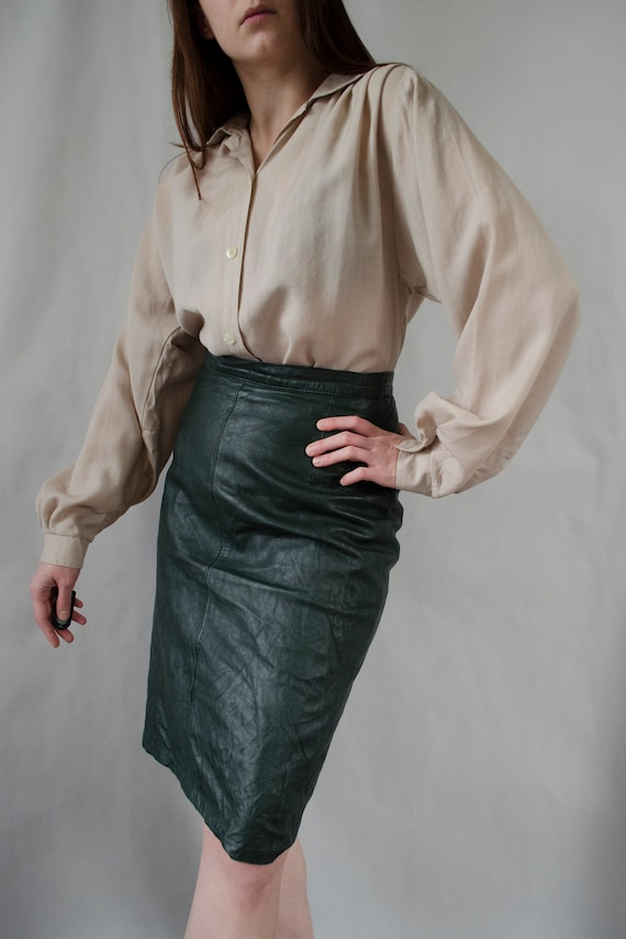 vintage green leather skirt | 80s statement skirt,