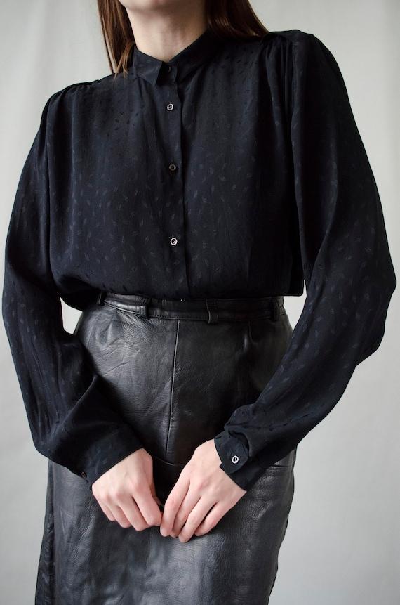 vintage CHRISTIAN DIOR blouse | Black silk designe