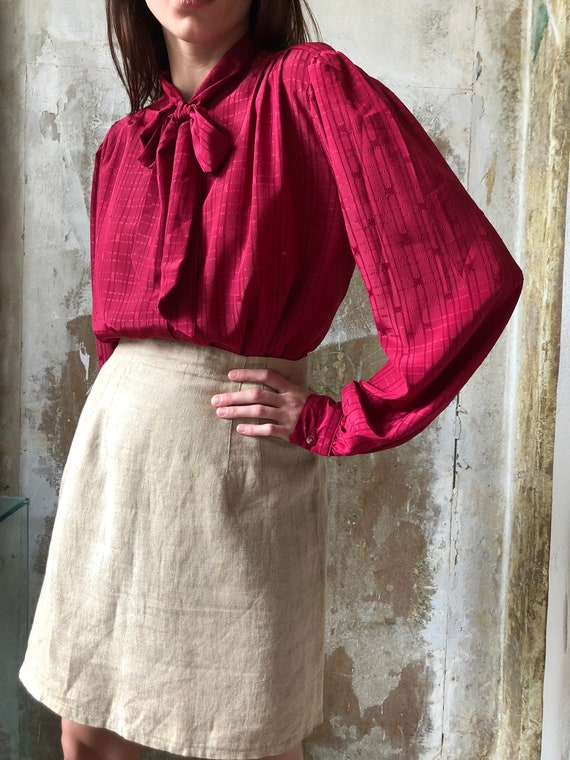 80s magenta pussy bow blouse | Red pink statement… - image 3