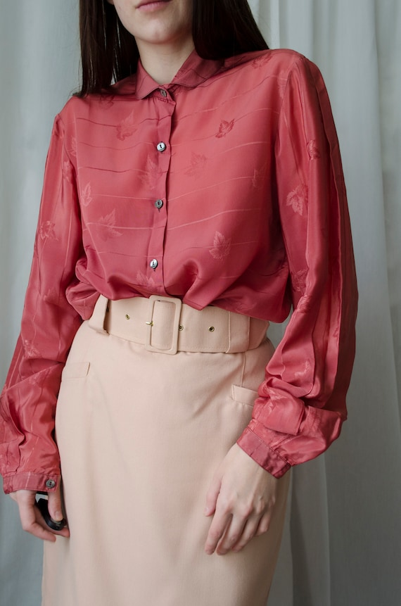 70s Vintage raspberry red blouse | Statement blous