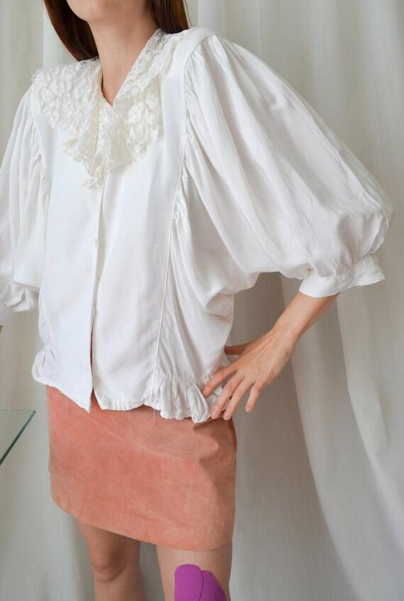 vintage white lace collar blouse | Cottagecore ba… - image 2