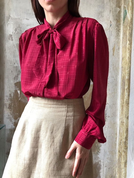 80s magenta pussy bow blouse | Red pink statement… - image 2