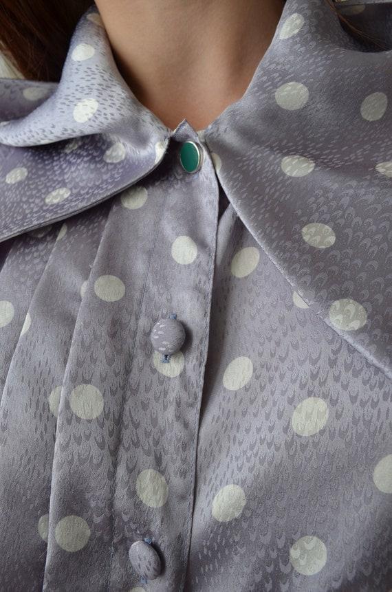 80s polka dot blouse | vintage purple blouse,big … - image 7
