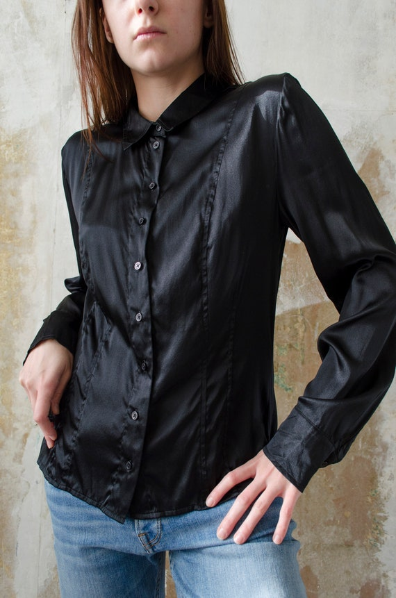 vintage black silk blouse   90s minimalist silk bl