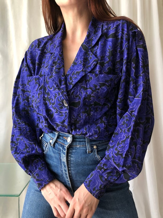 vintage silk baroque blouse | 80s floral statement