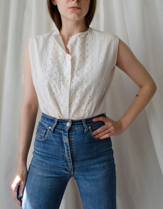 vintage white eyelet top | Broderie anglaise top,