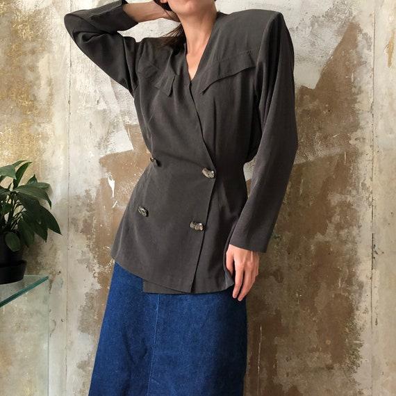 80s Vintage statement green padded jacket | Khaki