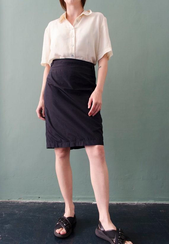 90s nylon dark navy skirt   vintage minimalist nyl