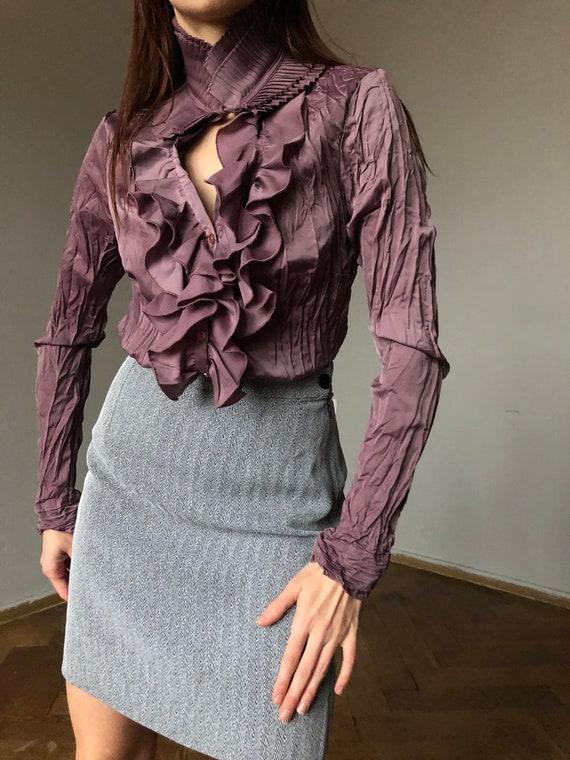 purple ruffle blouse | Statement collar blouse, Cr