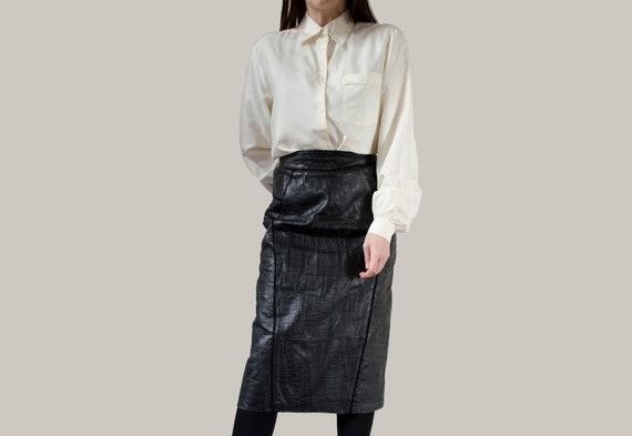 vintage black leather skirt | Elegant pencil midi