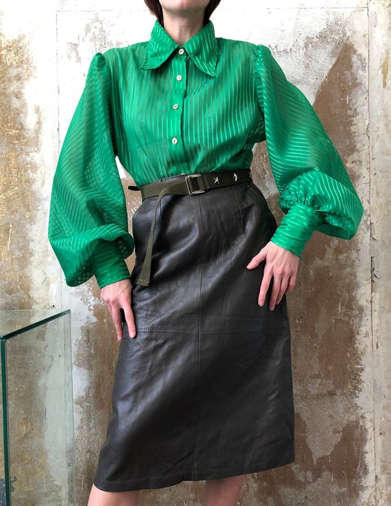 70s green statement blouse | Striped blouse, Puff