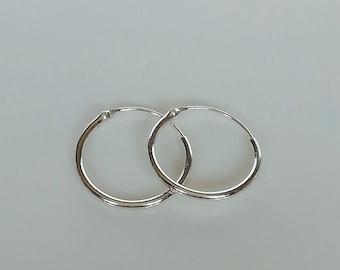 237111077 14mm silver hoops | Silver hoop earrings | Silver jewelry | Minimalist hoops  | Everyday ear hoops | Silver ear hoops | ESC