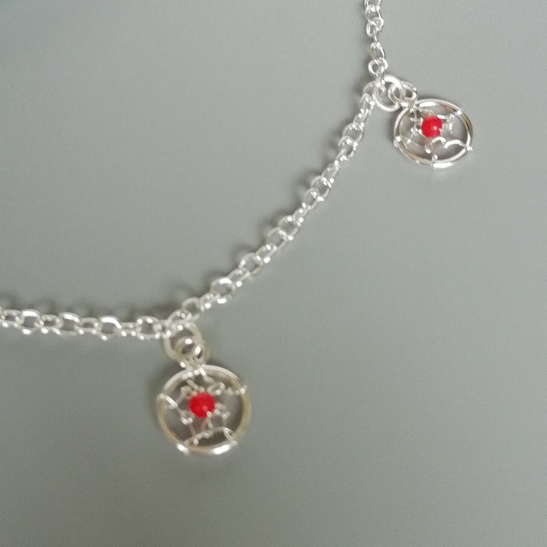 Wanderlust jewelry Foot jewelry ABA Red dream catcher foot chain Silver anklet Anklet chain Silver dreamcatcher anklet