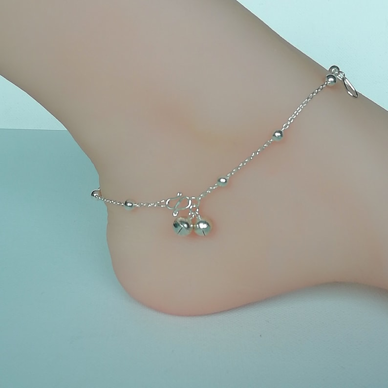 Foot Chain Sterling silver anklet Tear drop charm anklet Feet jewelry Bohemian anklet Pretty anklet Silver balls anklet ARL