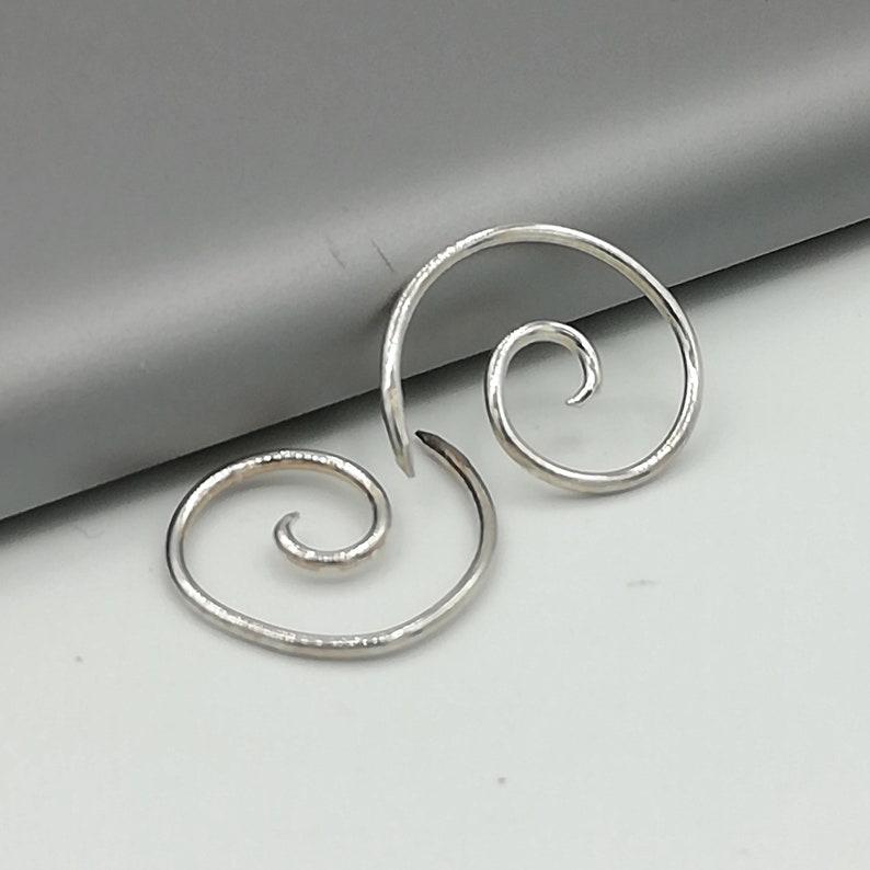 Sterling Silver hoops Simple hoops Silver ear wires Spiral silver hoops EIA Bridesmaids gift Bohemian ear hoops