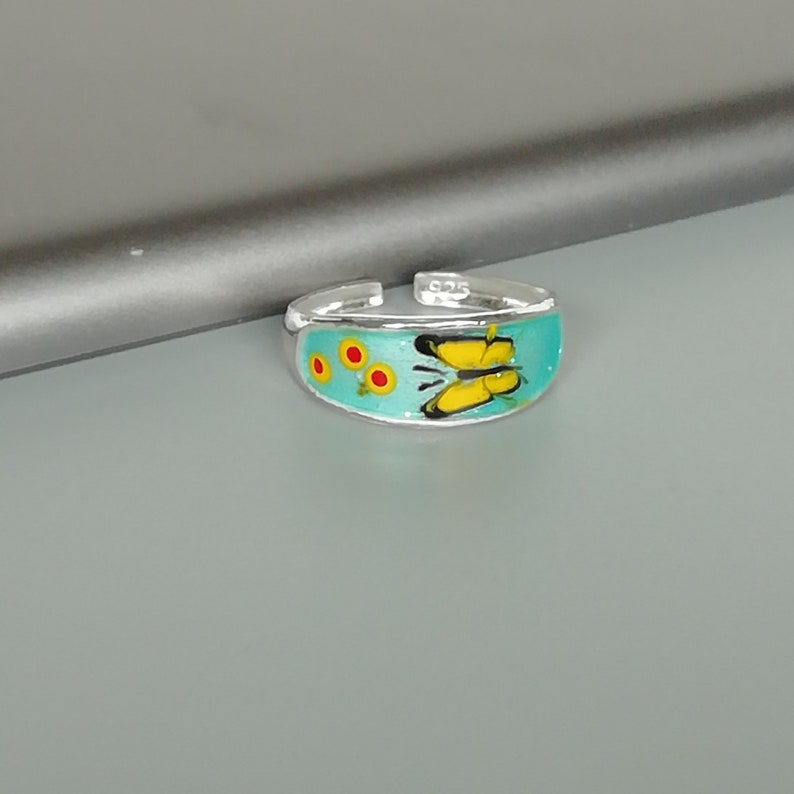 Enameled toe ring Minimalist body jewelry TCS Sterling silver toe band Bohemian jewelry Butterfly toe ring Blue toe band